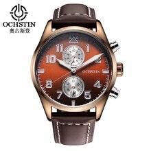 Multifonction Chronographe Sport Montres Hommes Top Marque De Luxe Bracelet En Cuir Étanche Bracelet À Quartz Hommes Horloge reloj hombre