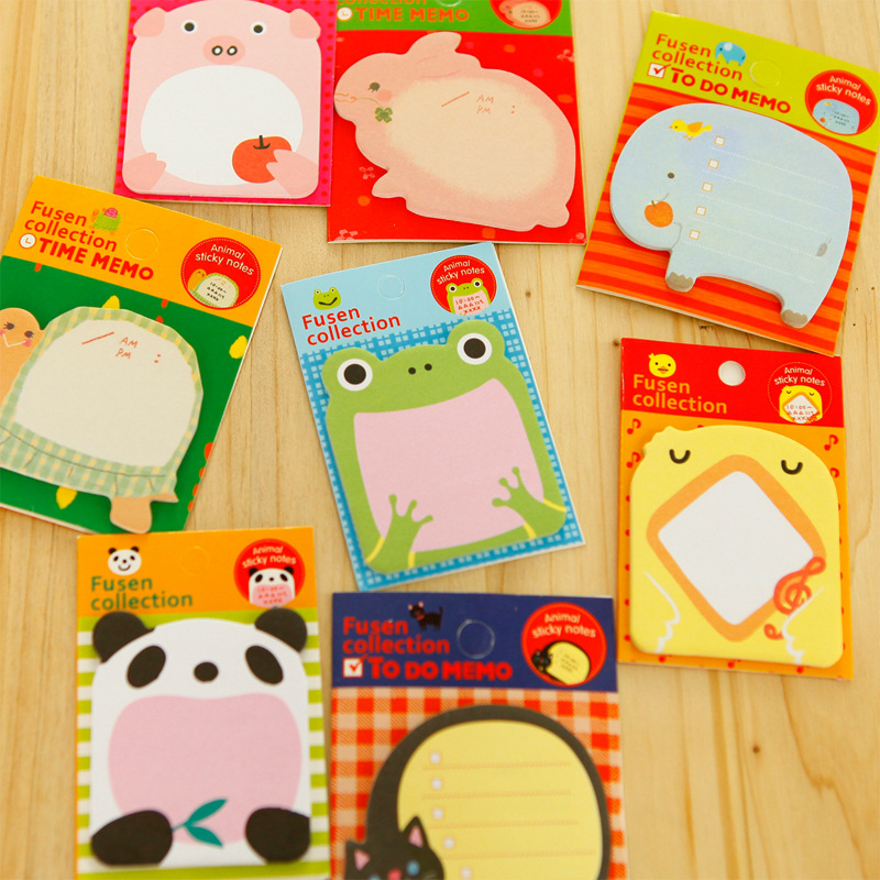 Korean Cartoon Animal series Sticky Notes Creative Post Notepad Filofax Memo Pads Office Supplies School Stationery Scratch