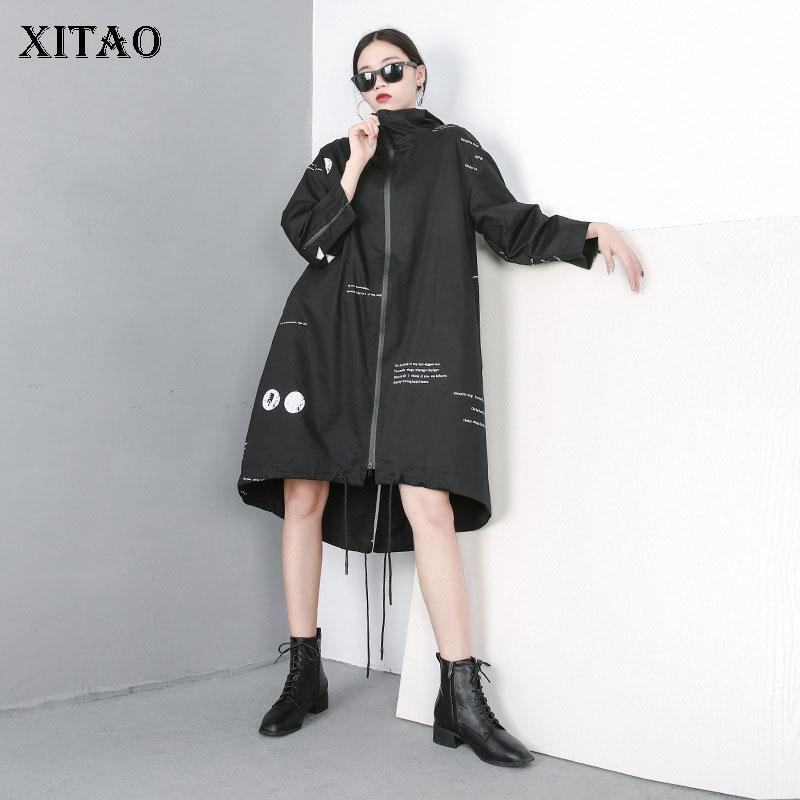 [XITAO] Spring Summer 2019 New Arrival Women Casual Long Sleeve Hooded Collar Zipper Polka Dot Asymmetrical   Trench   WBB2880