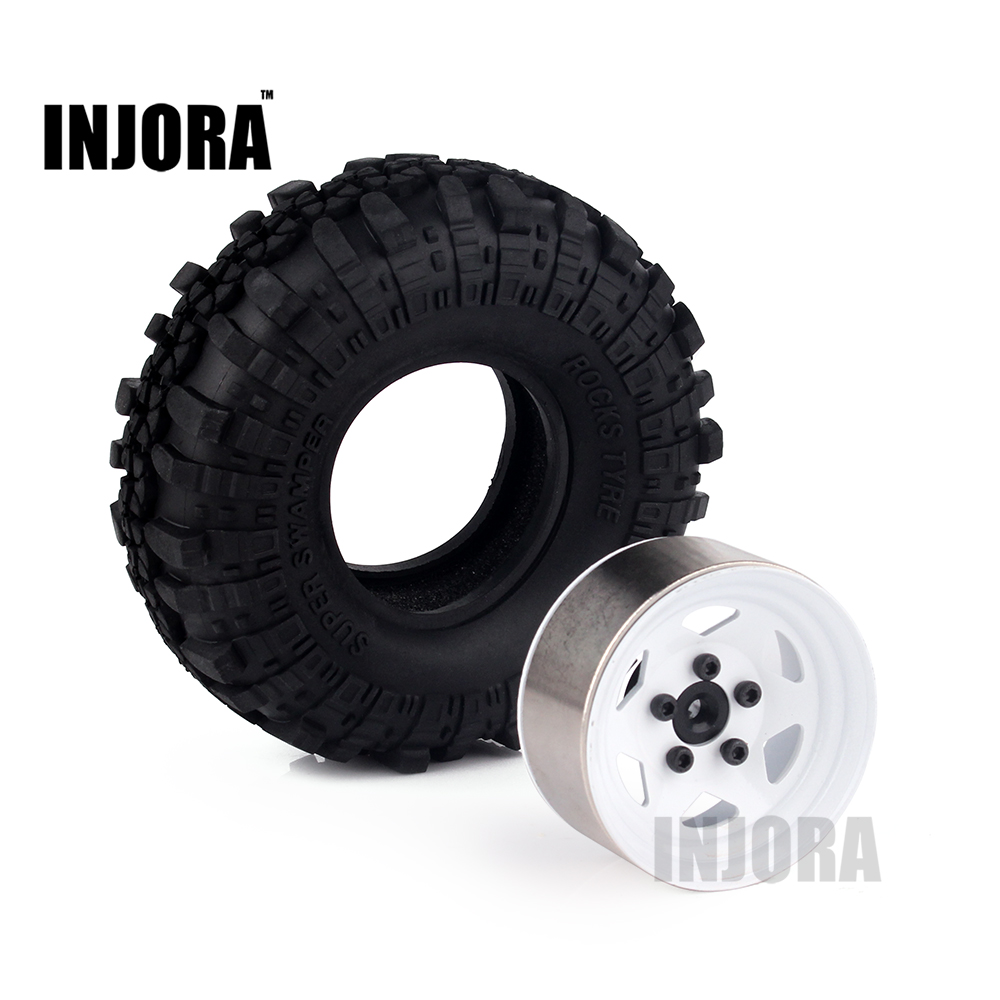 4PCS 1.9 Rubber Tyre / Wheel Tires & Metal Wheel Rim for RC Rock Crawler Axial SCX10 90046 90047 Tamiya CC01 RC4WD D90