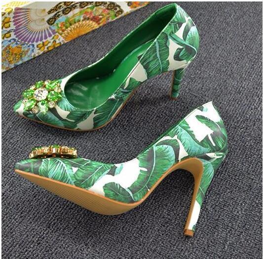 banana leaves high heel shoes pointed toe slip-on dress heels green banana leafs designs stiletto heels crystal wedding shoe