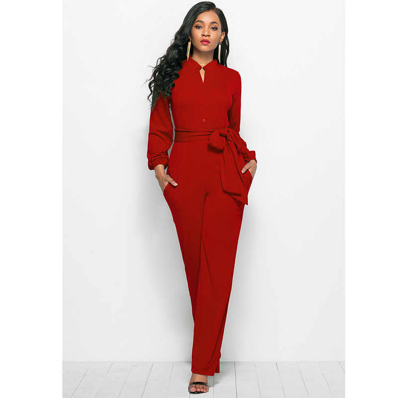 70794446859 Autumn Winter Long Sleeve Jumpsuit Women Elegant Long Pants ladies  Streetwear Wide Leg Jumpsuits Romper Vintage