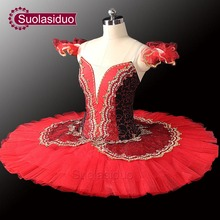 10pcs Red Paquita Classical Professional Ballet Tutus  Royal Tutu Black Stage Dancewear
