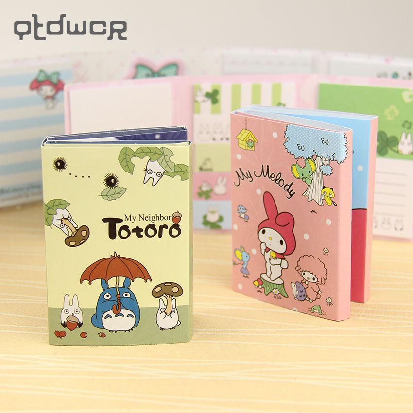1PC Cute Totoro Melody 6 Folding Memo Pads Sticker Notes Bookmark Gift Stationery