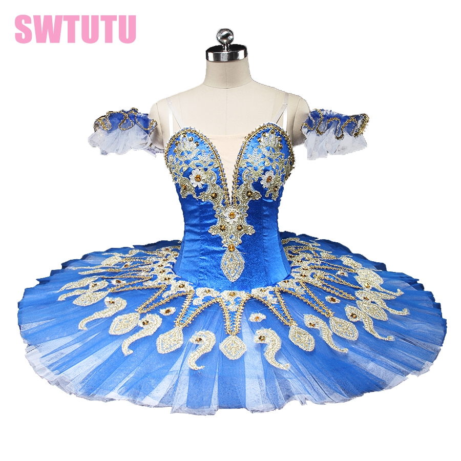 new blue swan lake ballet tutu platter performance sugar plum fairy professional pancake ballet tutu blue bird BT9134C