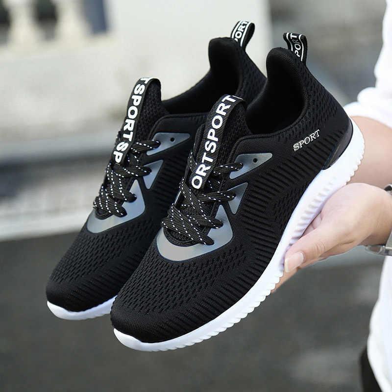 REETENE 2019 Spor koşu ayakkabıları Erkekler Moda Yeni Örgü Erkek rahat ayakkabılar Dantel-up erkek ayakkabısı Açık Rahat Erkek Sneakers Flats