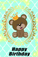 Laeacco Happy Baby Birthday Party Bear Gold Crown Shiny Pattern Poster Photography Backdrops Backgrounds Photocall Photo Studio