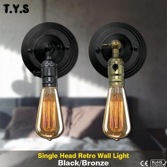 Vintage lámpara bonita de pared Industrial de pared decorativo lámpara de luces Retro 110 V 220 V E27 interior dormitorio baño balcón Loft pasillo lámpara