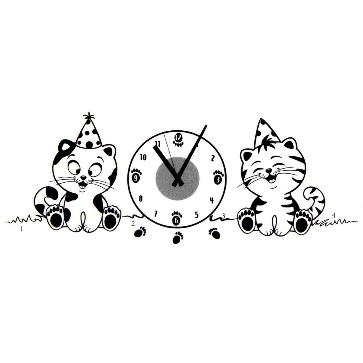 Cat Clock DIY Decorative Mirrors Stickers PVC Wall Happy Cats For Living Rooms Office Wallpaper Cute Decoration