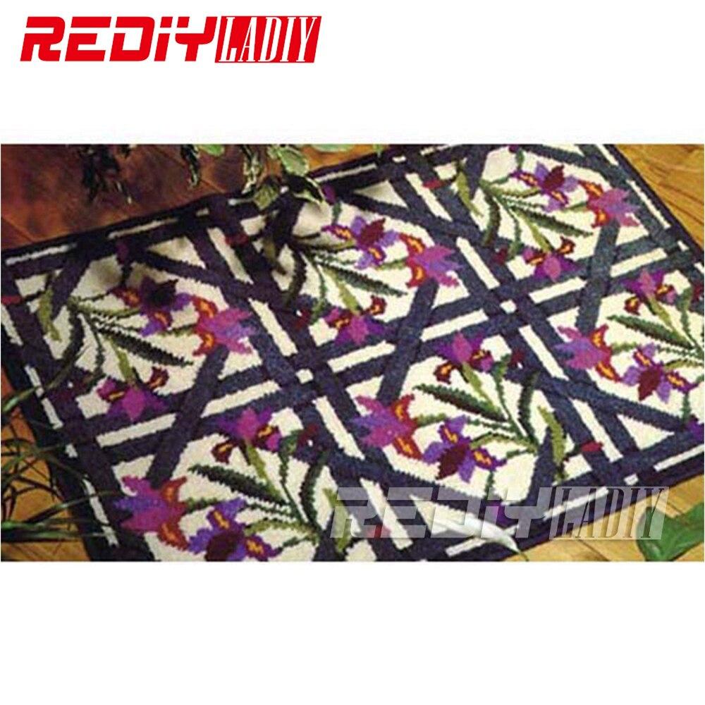 """Ковер """"сделай сам"""" орихид одеяло с изображением цветов, крючок с защелкой, ковер, вязаный гобелен, 100% акриловая пряжа, набор подушек для вышивки, коврик для пола"""