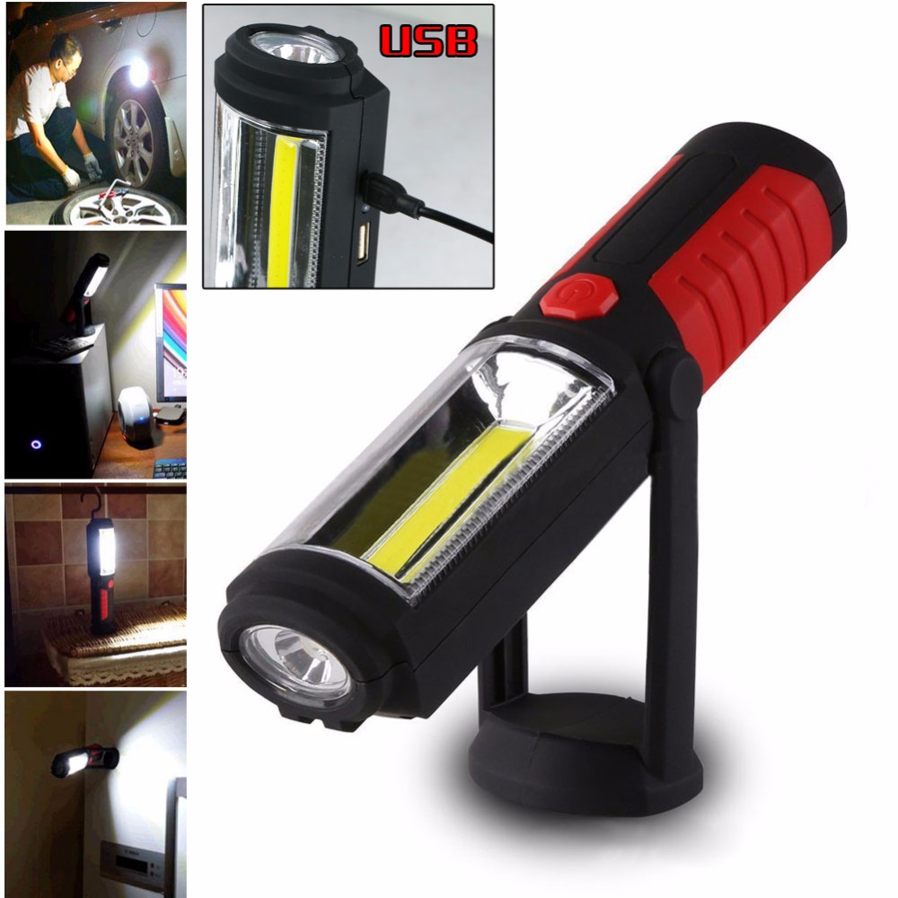 Portable COB Flashlight Torch USB Rechargeable LED Work Light Magnetic COB lanterna Hanging Lamp For Outdoor Camping zpaa 2017 portable 3w cob led camping work inspection light lamp usb rechargeable pen light hand torch with usb cable