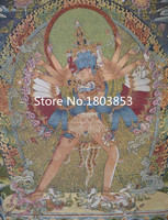 Tibet buddhist Thangka silk embroidery art,Antique home wall decor Exorcism feng shui paintings,Unique Holiday Gift