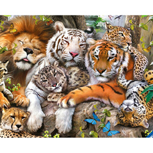 New 5d Full Square Tiger Diamond Painting Cross Stitch Diy Animal Embroidery Cross-stitch Wall Sticker Decals D