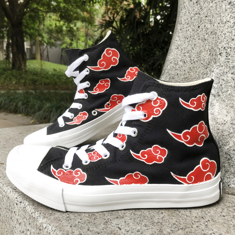Wen Hand Painted Black Canvas Shoes Design Naruto Shippuuden Akatsuki Red Clouds Men Women Anime Sneakers Hi-Top Laced Plimsolls бензопила husqvarna 240 1500вт