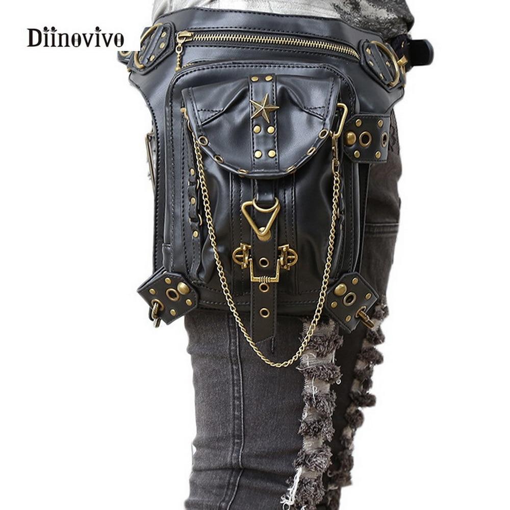 DIINOVIVO Gothic Women Messenger Handbag Vintage Steampunk Bag Fashion Retro Rock Shoulder Bag Waist Pack Small Leg Bag WHDV0115