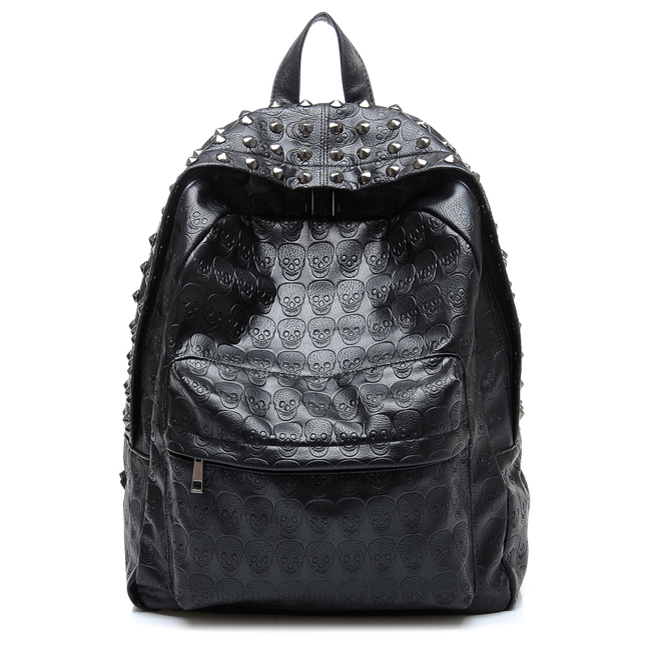TEXU Daily <font><b>Backpack</b></font> Punk Skull Imprint <font><b>Backpacks</b></font> College School Bags image