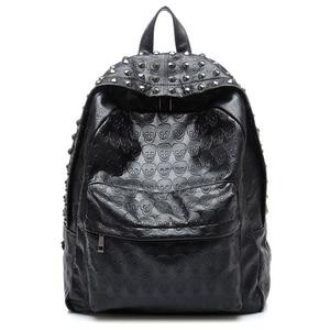 Image 1 - TEXU повседневный рюкзак в стиле панк с принтом черепа, рюкзаки для колледжа, школьные сумки
