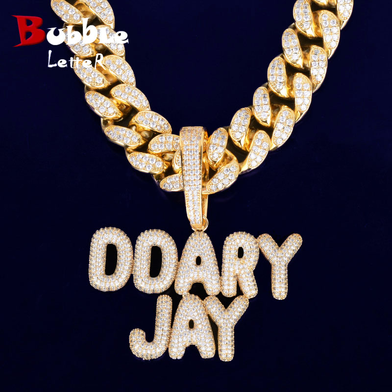 With 20MM Cuban Chain Custom Name Small Bubble Letters Chain Pendants Necklaces Men s Zircon Hip