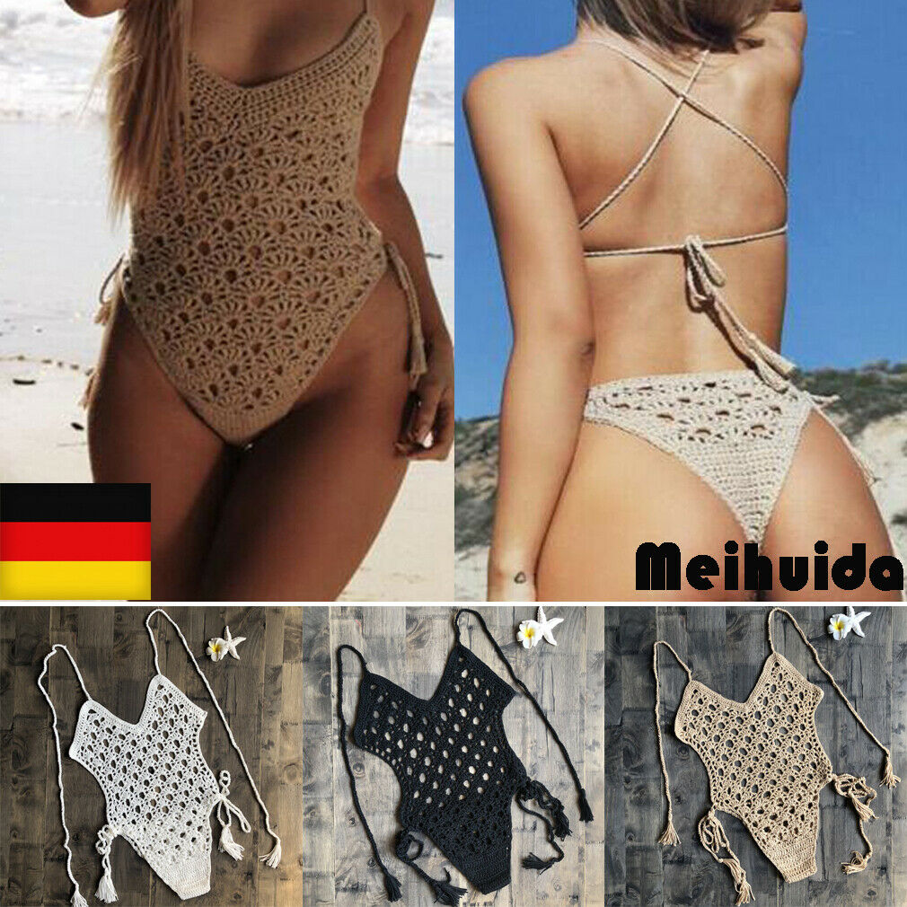 Crochet Bikini Top Beach Boho Swimsuit Knitted Ladies Swimwear Womens Knit Bra