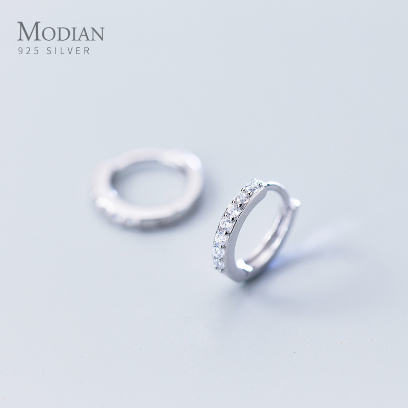 Modian New Trendy 100% 925 Sterling Silver Sparkling Black Clear CZ Tiny Hoop Earrings For Women Classic Silver Fine Jewelry