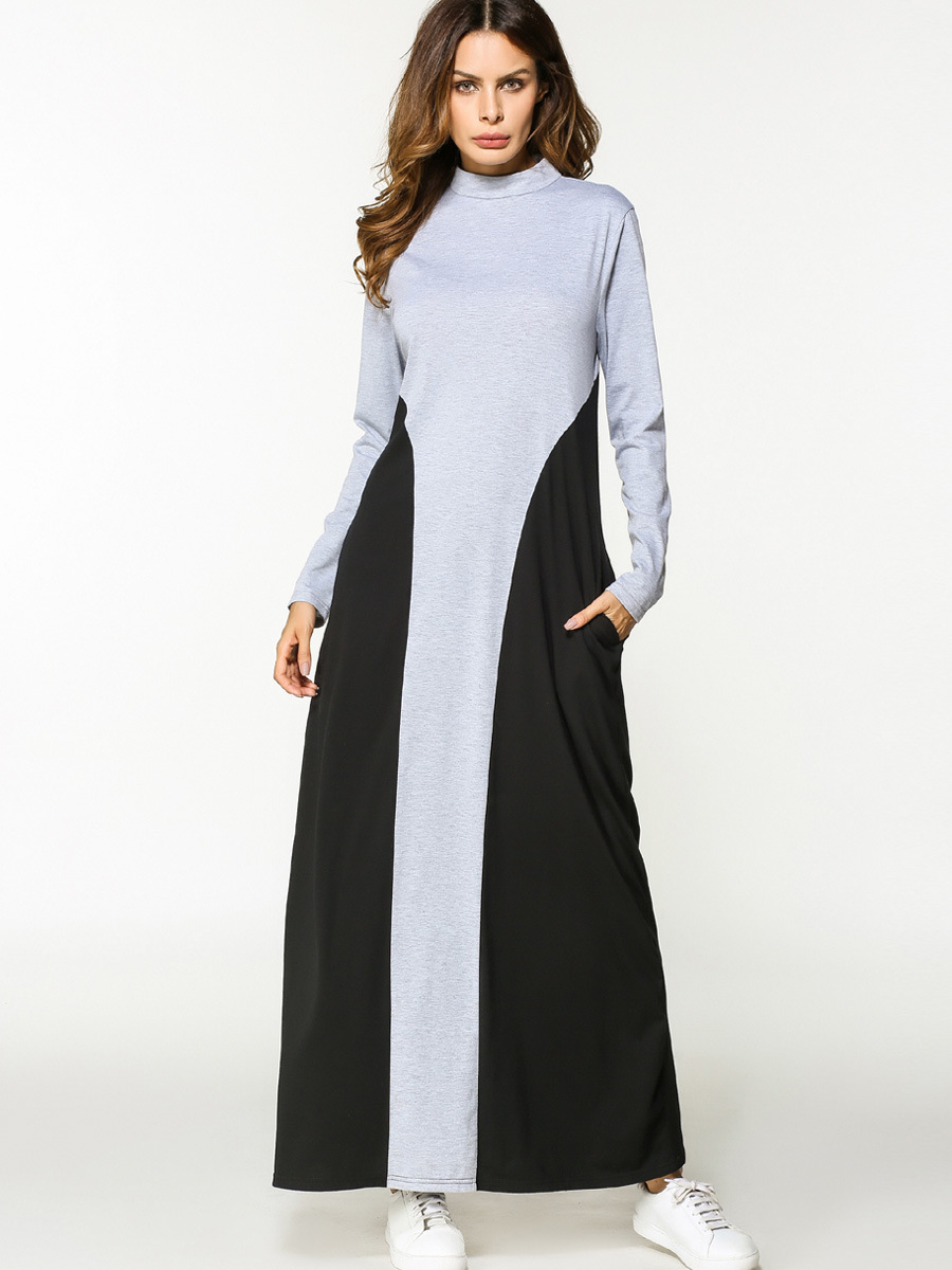 Muslim Maxi Dress Cotton Abaya Patchwork Long Sleeve Robe Gowns ... dcca3068b7bb