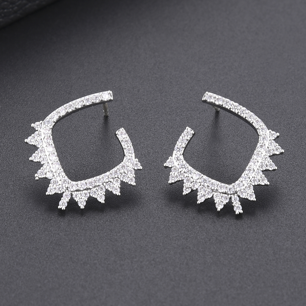SISCATHY Geometric Stud Earrings for Women Cubic Zirconia CZ Fashion Jewelry Elegant Gilrs Women Party Earrings Accessories in Stud Earrings from Jewelry Accessories