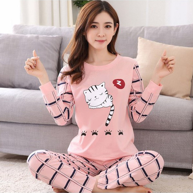5e6fcaa642 2018 new Women pajamas set autumn ladies cute sleepwear woman s long sleeved  household clothing set free shipping