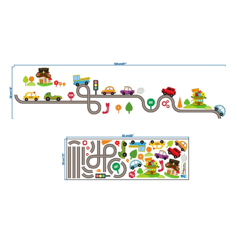 Cartoon traffic roads cars channel wall stickers boys kids bedroom decor party games decals self adhesive home decoration in wall stickers from home