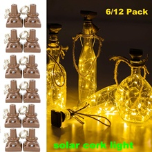 Solar Powered Wine Bottle Lights, 6/12 Pack 20 LED Waterproof Warm White Copper Cork Shaped Lights for Wedding Pathway Decor