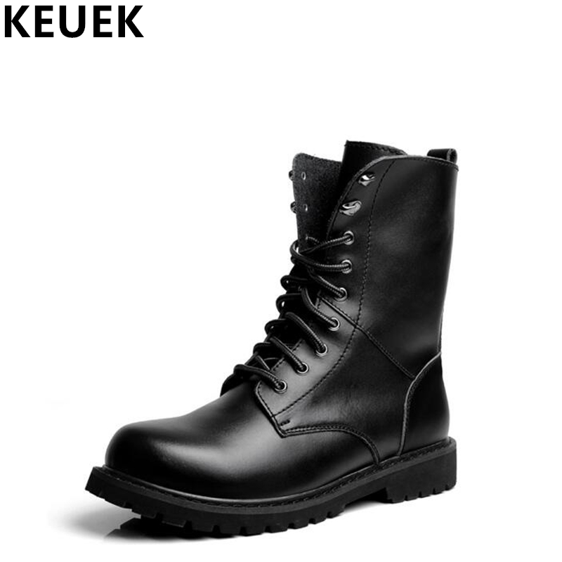 Autumn Winter Men Motorcycle boots Genuine leather Lace Up Male boots British style Mid Calf boots