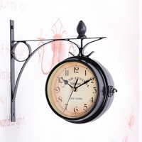 classic Wood Wall Clock Metal Frame + Glass Clock Vintage Decorative Double Sided Metal Wall Clock