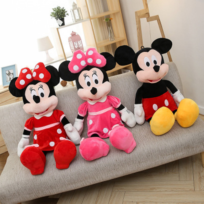 40cm-100cm Big Hot Plush Mickey Mouse Minnie Mouse Plush Toys Baby Dolls Birthday Christmas Party Gifts Toys For Kids Girls
