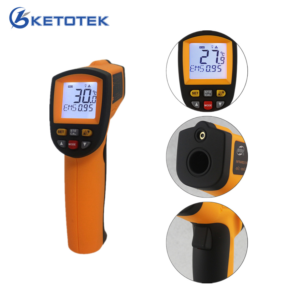 -50~900C -58~1652F Pyrometer 0.1~1EM Celsius IR Infrared Thermometer Non-Contact Free Shipping gm900 non contact temperature meter 50 900c 58 1652f pyrometer 0 1 1em celsius ir infrared thermometer