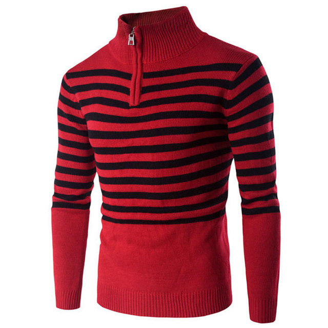 Zwart Rood Gestreepte Trui.2016 Merk Winter Zwart Rood Gestreepte Fashion Heren Truien Coltrui