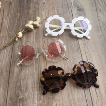 Vintage Kids Sunglasses Child Sun Glasses Round Flower Gafas Baby Children UV400