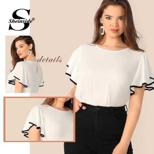 Sheinside Plus Size White Contrast Binding Flutter Sleeve Top Women 2019 Summer Flounce Sleeve Blouse Ladies Short Sleeve Tops 5