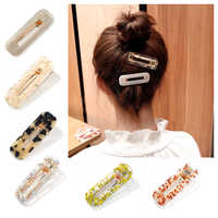 Japanese Retro Hollow Geometric Acrylic Bangs Clip Hairpin Clip Shiny Tinfoil Sequins Hair Accessories Barrette for Women Girls