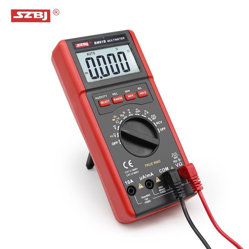 SZBJ de alta precisión multímetro digital BM91A/BM91B AC/DC de fondo de rango automático medidor de capacitancia
