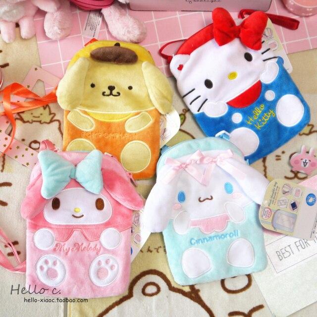 New Cartoon Hello Kitty My Melody Cinnamoroll Dog Plush Bag Children Purse  Girls Plush Wallet Shoulder 3caa59e8dd34d