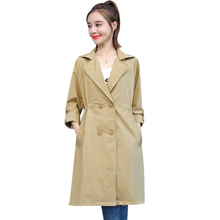 Women's Trench Coat 2019 New Style Fashion Casual long Sleeve Solid Color Windbr