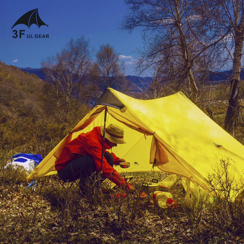 3F UL Gear Lanshan2 15D 3-Season ultra-light 2-tower-shape 2-people Silicon Coating Camping Tent No Poles No Ground Sheet