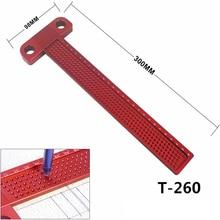 Деревообрабатывающий Scribe 260 мм Т-образная линейка отверстие скребковый датчик алюминиевый Скрещенные ножки деревообрабатывающий скрещенный инструмент измерительный инструмент