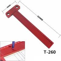 Carpintaria Buraco Scribing Escriba 260 milímetros T-tipo Régua de Alumínio Bitola Cruzadas Pés carpintaria crossed-fora ferramenta de Medição ferramenta