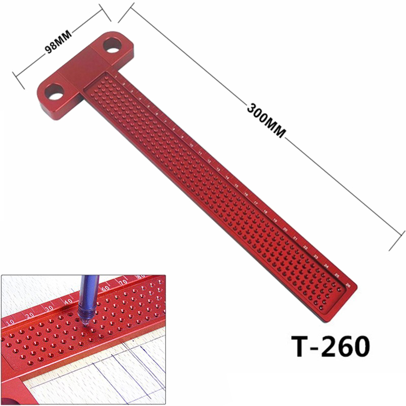 Woodworking Scribe 260mm T-type Ruler Hole Scribing Gauge Aluminum Crossed Feet woodworking crossed-out tool Measuring Tool