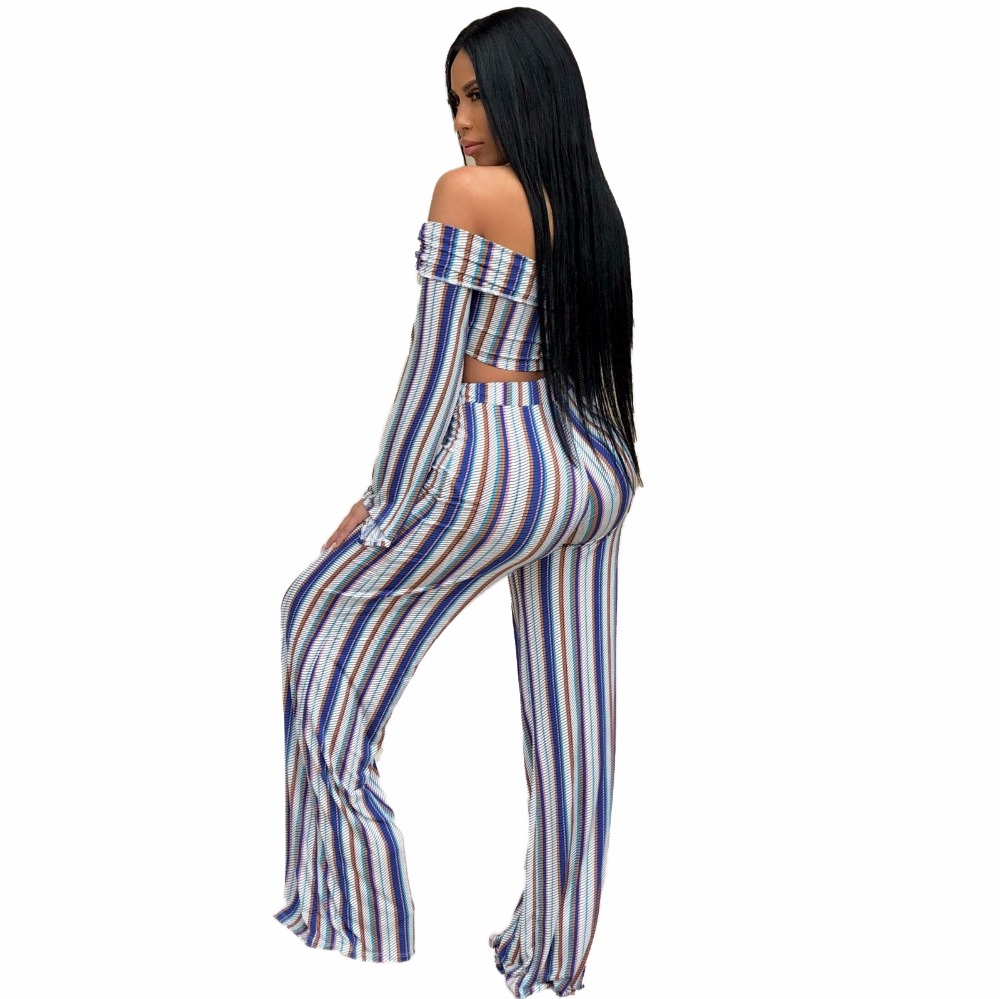 Sexy v neck off shoulder Bandage striped 2 piece set women summer casual fashion two piece set top and pants outfits suit (1)