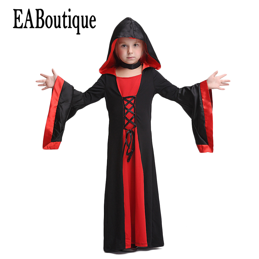 EABoutique 2017 New high quanlity Witch Vampire Goth style full halloween dress with Choker halloween costumes for kids girls