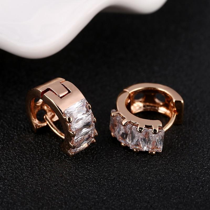 MINHIN Rose Gold Earrings For Women AAA Austrian Clear Zircon Ladies Graceful Zircon Earring Jewelry Fashion Earring Gift
