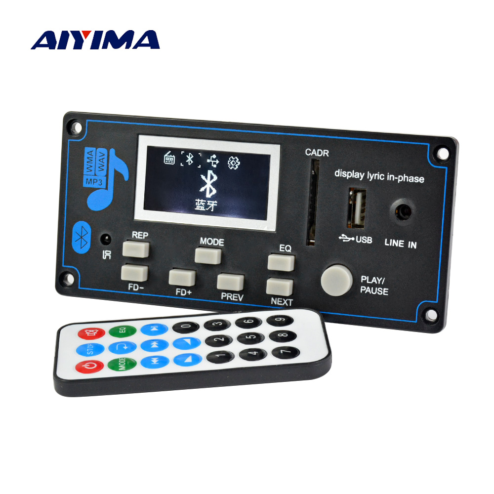 Aiyima 12V WAV WMA MP3 Decoder Board Bluetooth Audio Receiver Decoder Board With Recording Audio Amplifier Modification DIY aiyima 12v tda7297 audio amplifier board amplificador class ab stereo dual channel amplifier board 15w 15w