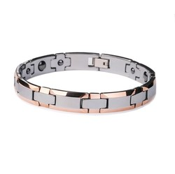 Hot Selling Fashion Jewelry Rose Gold Plating Tungsten Carbide Bracelet With Magnetic Germanium Stone His OR Her Best Gift