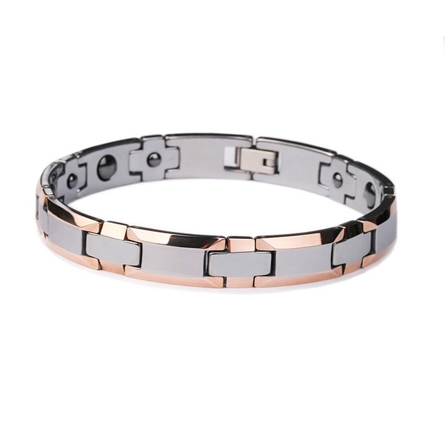 Hot Ing Fashion Jewelry Rose Gold Plating Tungsten Carbide Bracelet With Magnetic Stone His Or Her